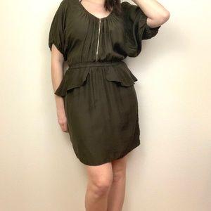 Rebecca Taylor Olive Green Zip Up Peplum Dress